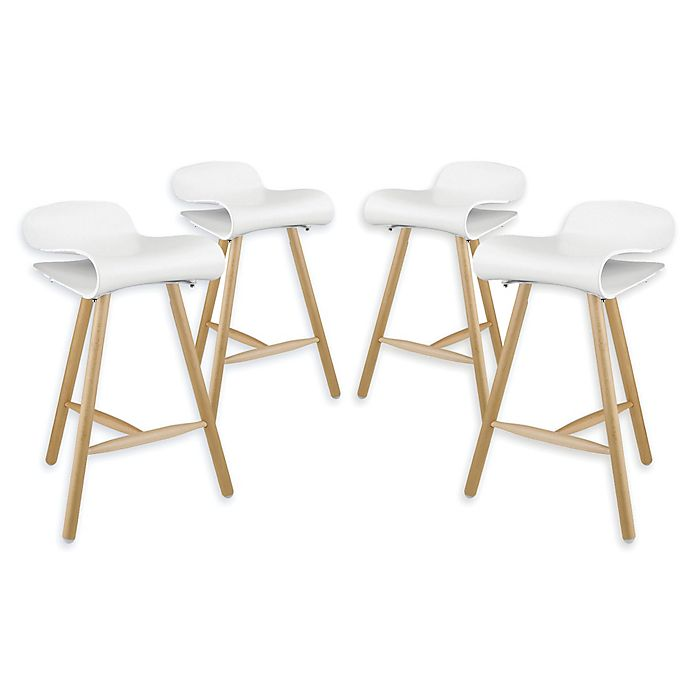 Incredible Modway Clip Bar Stools In White Set Of 4 Theyellowbook Wood Chair Design Ideas Theyellowbookinfo