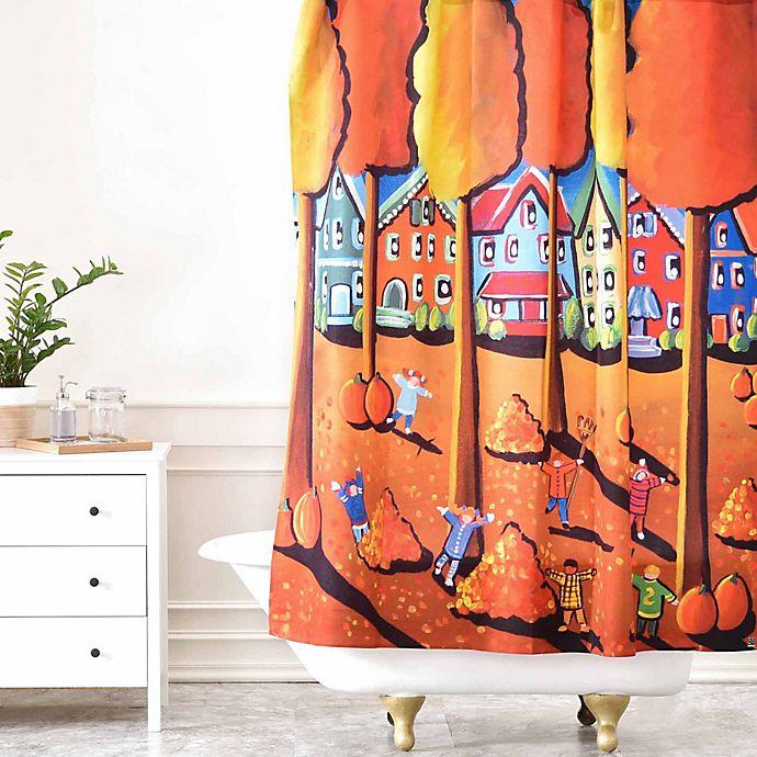 Alternate image 1 for Deny Designs Renie Britenbucher Kids Raking Leaves Shower Curtain