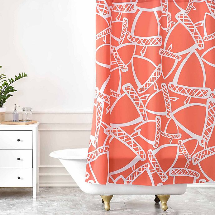 Alternate image 1 for Deny Designs Heather Dutton Acorn Stash Shower Curtain in Orange/White