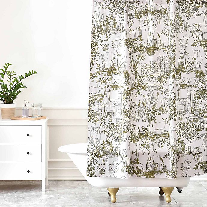 Deny Designs Rachelle Roberts Farm Land Toile Shower Curtain In