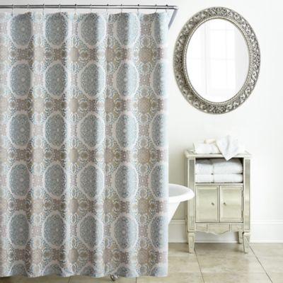 WaterfordR Jonet Shower Curtain In Cream Aqua