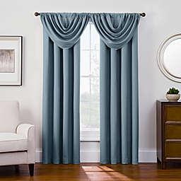 Antique Satin Room-Darkening Rod Pocket Window Curtain Panel and Valance
