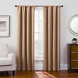 Antique Satin 84-Inch Room-Darkening Rod Pocket Window Curtain Panel in Honey