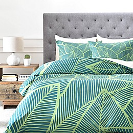 Deny Designs A Lime Leaves Duvet Cover in Green