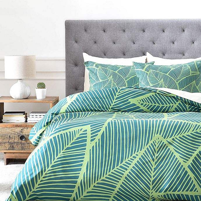 Alternate image 1 for Deny Designs A Lime Leaves King Duvet Cover in Green