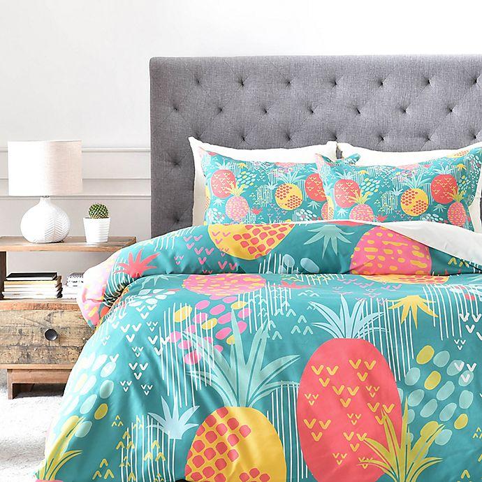 Alternate image 1 for Deny Designs ZW Day Pineapple Duvet Cover in Green
