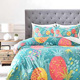 Deny Designs ZW Day Pineapple Duvet Cover in Green