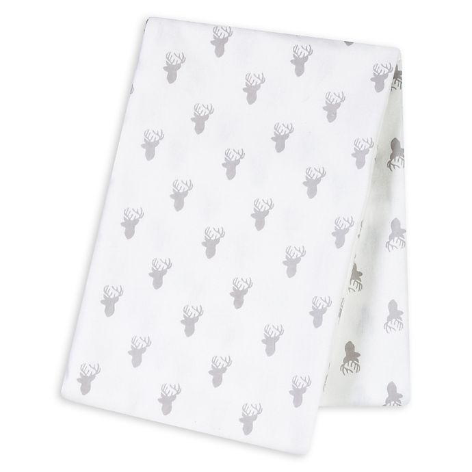 Alternate image 1 for Trend Lab® Stag Silhouettes Deluxe Flannel Swaddle Blanket in Grey/White