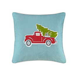 Madison Park Holiday Delivery Square Throw Pillow in Blue