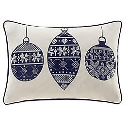 Madison Park Velvet Ornament Oblong Throw Pillow in Navy