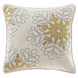 Madison Park Winter Snowflake Glitz Square Throw Pillow in Ivory