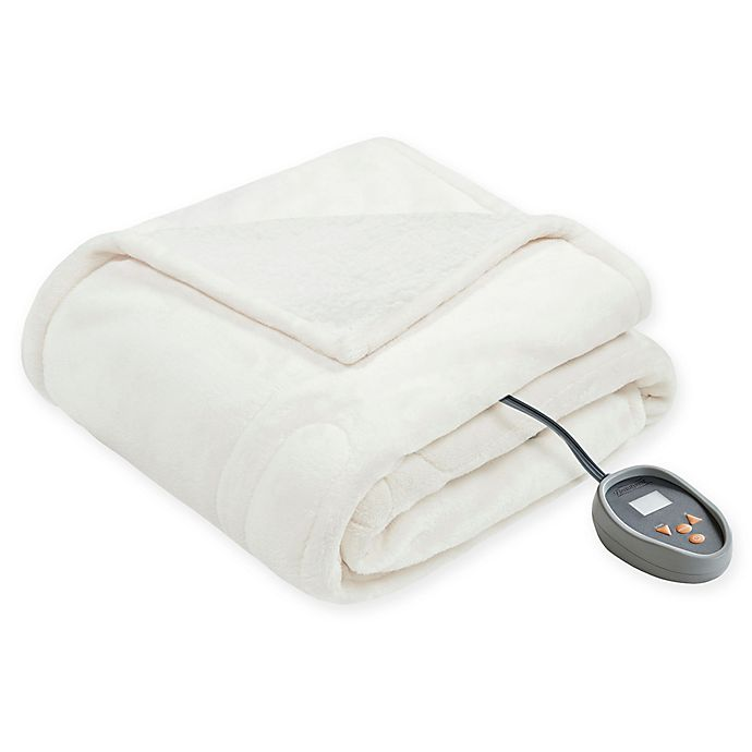 Alternate image 1 for Beautyrest® Heated Microlight-to-Berber Full Blanket in Ivory