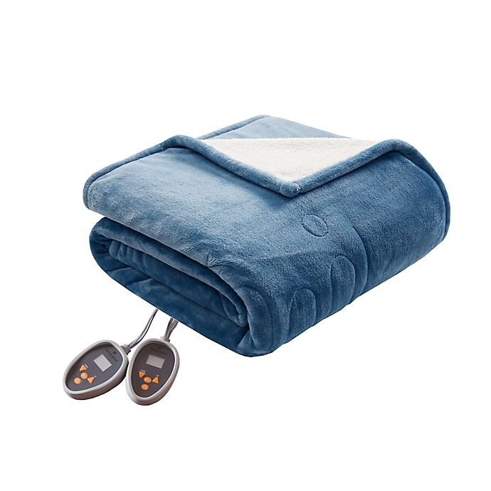 Alternate image 1 for Woolrich Heated Plush to Berber King Blanket in Sapphire Blue