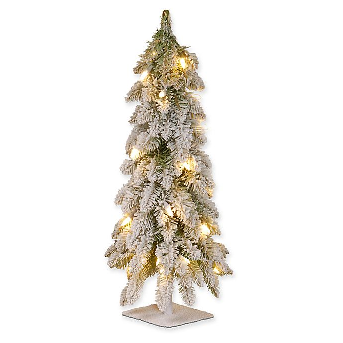 Alternate image 1 for National Tree 2-Foot Snowy Downswept Pre-Lit Forestree Tree with Clear Lights