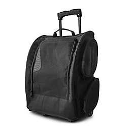 OxGord Mesh Rolling Backpack Pet Carrier in Black