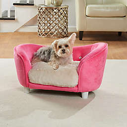 Enchanted Home Ultra Plush Dog Snuggle Pet Sofa in Pink