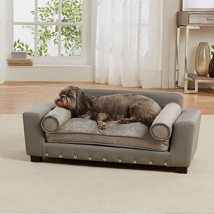 Alternate image 1 for Enchanted Home Faux Leather Scout Lounge Sofa in Grey