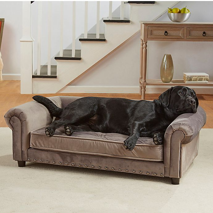 Alternate image 1 for Enchanted Home Velvet Tufted Manchester Pet Sofa in Grey