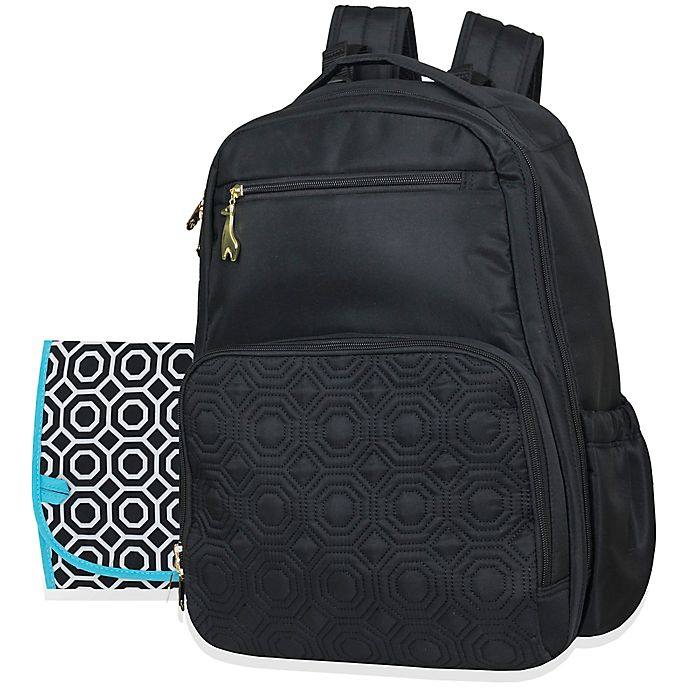 Alternate image 1 for Jonathan Adler™ Quilted Backpack Diaper Bag in Black