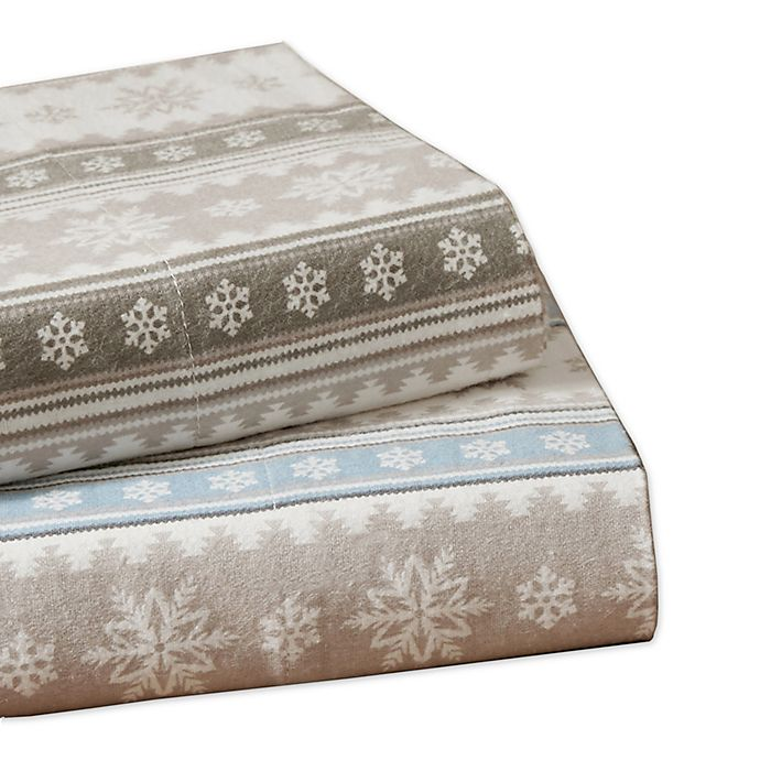 Woolrich Nordic Snowflake Flannel Sheet Set Bed Bath Beyond
