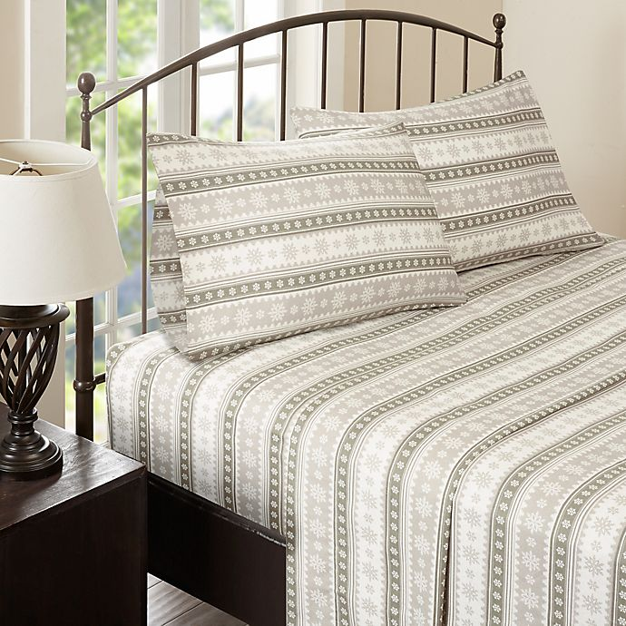 Alternate image 1 for Woolrich Nordic Snowflake Flannel Queen Sheet Set in Tan