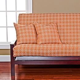 SIScovers® Mandarin Futon Cover in Orange/White
