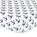 The Peanut Shell® Anchor Fitted Crib Sheet in White/Navy