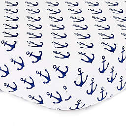 The Peanutshell™  Anchor Fitted Crib Sheet in White/Navy