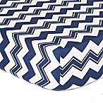 The Peanut Shell® Chevron Fitted Crib Sheet in White/Navy