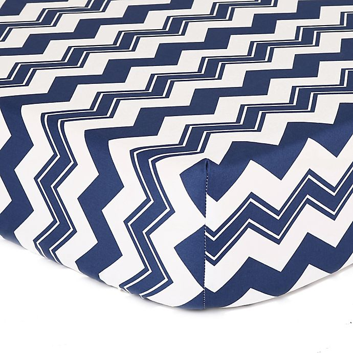 Alternate image 1 for The Peanutshell™  Chevron Fitted Crib Sheet in White/Navy