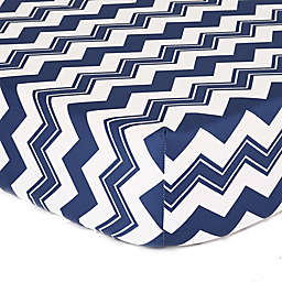 The Peanutshell™  Chevron Fitted Crib Sheet in White/Navy
