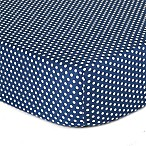 The Peanut Shell® Dots Fitted Crib Sheet in Navy
