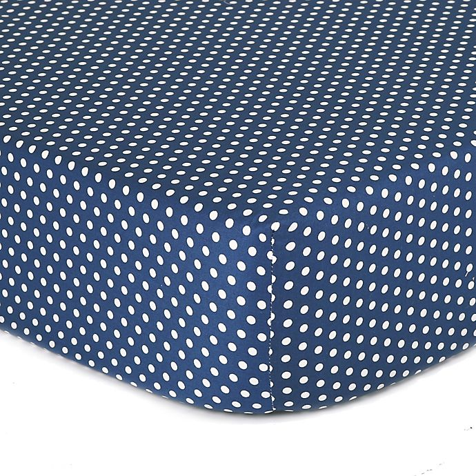 Alternate image 1 for The Peanutshell™  Dots Fitted Crib Sheet in Navy