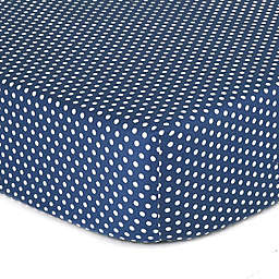 The Peanutshell™  Dots Fitted Crib Sheet in Navy