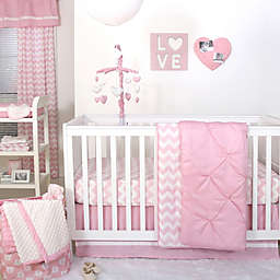 The Peanutshell™  Pintucked Crib Bedding Collection in Pink