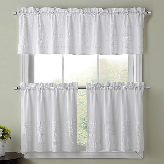 Sophia Kitchen Window Curtain Tier Pair And Valance Collection In White