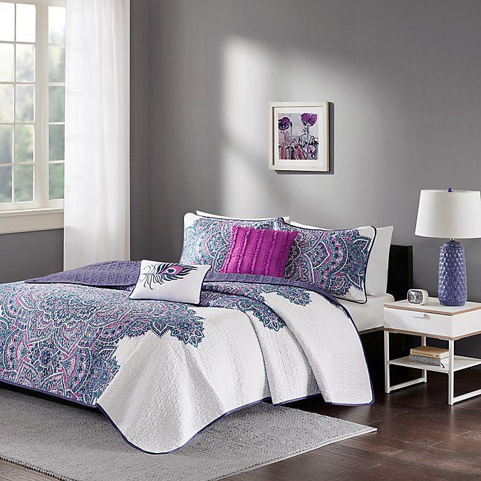 Alternate image 1 for Intelligent Design Mila Twin/Twin XL Coverlet Set in Purple