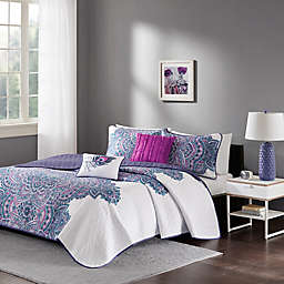 Intelligent Design Mila Coverlet Set in Purple