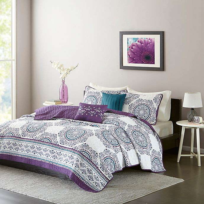 Alternate image 1 for Intelligent Design Anika Twin/Twin XL Coverlet Set in Purple
