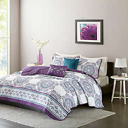 Intelligent Design Anika Twin/Twin XL Coverlet Set in Purple