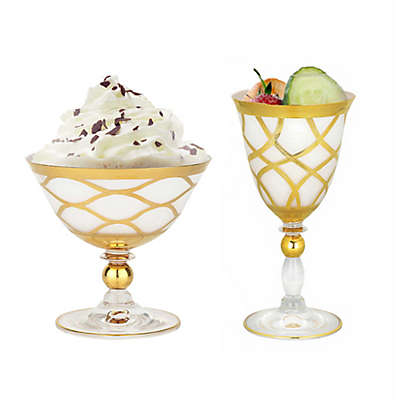 Classic Touch Milk Glass Stemware Collection