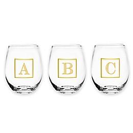 Monogram Letter Stemless Wine Glass in Gold