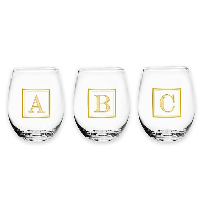 14422b05728 Monogram Letter Stemless Wine Glass in Gold   Bed Bath & Beyond