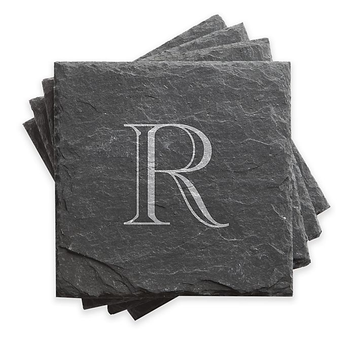 Alternate image 1 for Traditional Initial Slate Coasters (Set of 4)