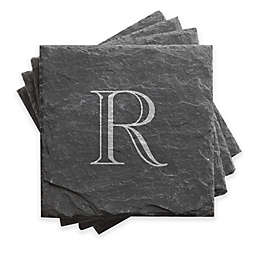 Traditional Initial Slate Coasters (Set of 4)