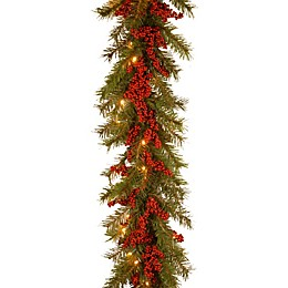 National Tree Company Decorative Collection Battery-Operated 9-Foot Valley Pine Christmas Garland