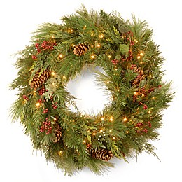 National Tree Company 30-Inch White Pine Pre-Lit Wreath with LED Lights