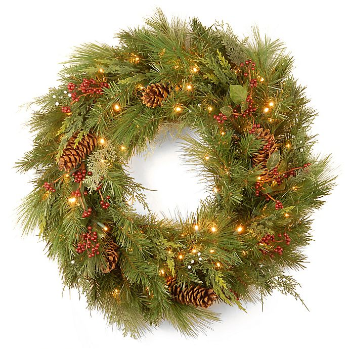 Alternate image 1 for National Tree Company 30-Inch White Pine Pre-Lit Wreath with LED Lights