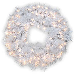 National Tree Company 30-Inch Wispy Willow Grande White Pre-Lit Christmas Wreath with Clear Lights
