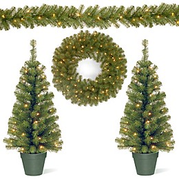 Evergreen 4-Piece Battery-Operated Pre-Lit Holiday Decorating Set